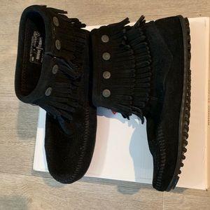 Minnetonka, new black suede booties, 9.